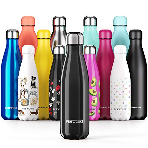 Proworks Performance Stainless SteelSports Water Bottle |Double Insulated Vacuum Flask for 12 HoursHot & 24 HoursCold Drinks - Great for Home, Work, Gym& Travel - 1 Litre -BPA Free– Black