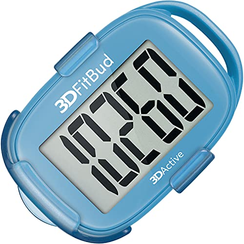 3DFitBud Simple Step Counter Walking 3D Pedometer with Clip and Lanyard, A420S (Blue with Clip)