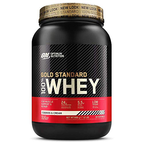 Optimum Nutrition Gold Standard Whey Protein Powder Muscle Building Supplements With Glutamine and Amino Acids, Cookies and Cream, 28 Servings, 900g, Packaging May Vary