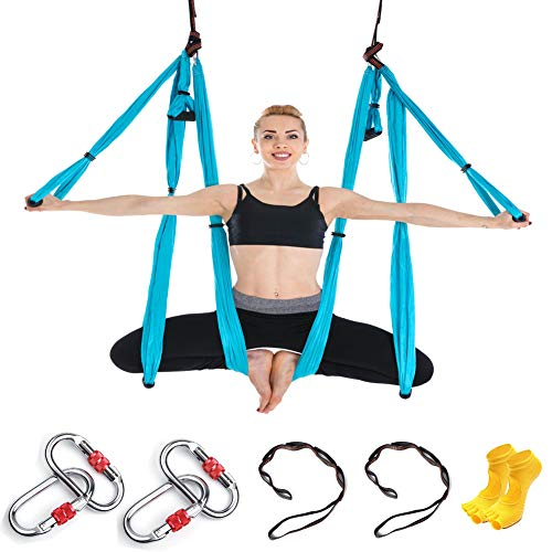 Himifuture 6 Handles Aerial Yoga Hammock Flying Yoga Swing Home Yoga Hammock for Pilates Body Shaping with 4 carabiners, 2 1m extension Belts, 1 Carry Bag