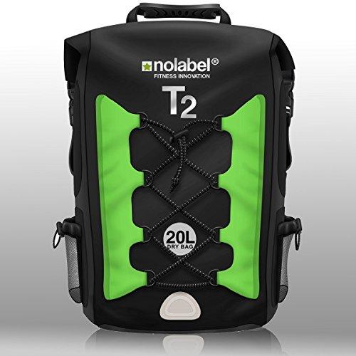 NO LABEL Roll Top Backpack Waterproof - T2 Transition Bag - Sports Rucksack - Running - Cycling - Black/Orange