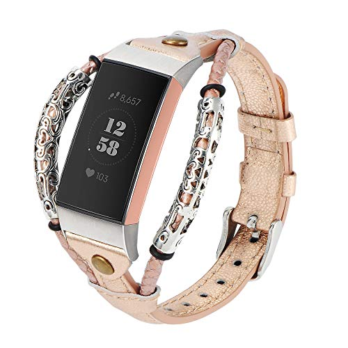 Wearlizer Compatible with Fitbit Charge 3/Charge 4 Strap/Charge 3 SE for Women Men Leather Handmade Classic Replacement Band Accessories Stylish Wristbands Adjustable Size Bracelet Rose Gold