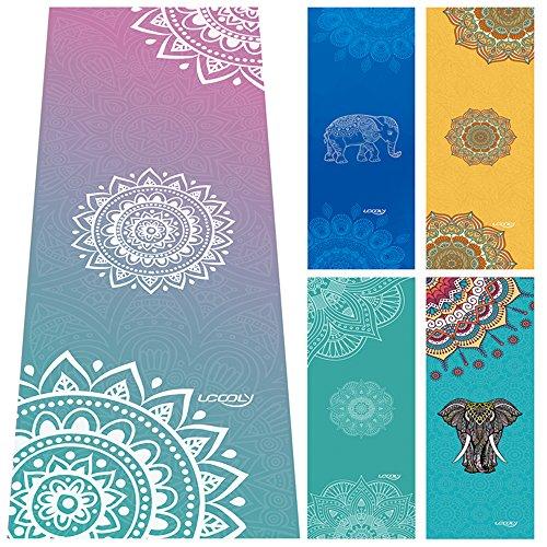 UCOOLY Yoga Towels,Non Slip Mat Towel with Smart Corner Pockets and Elastic Loop,Hot Yoga Towel for Bikram,Pilate,Fitness 24'x72' (Mandala Purple)